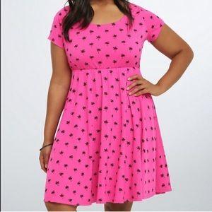 Torrid Pink Palm Tree Skater Short Sleeved Dress